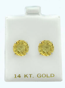 GENUINE 8.36 Cts YELLOW TOPAZ STUD EARRINGS 14K WHITE GOLD ** Free Certificate