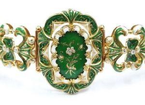 Gold 750 GG/RG Armband mit grünem & weißen Emaille um 1840 -1870 + Diamanten