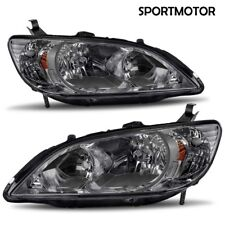for 2004 2005 Honda Civic 2/4Dr Black Housing Headlights Head Lamps Replacement