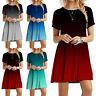Women Summer Short Sleeve Casual Short Dress Crew Neck Gradient Loose Dresses