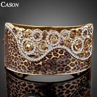 Fashion Leopard Statement Bangle Austrian Crystal 18K Gold Plated Cuff Bracelet