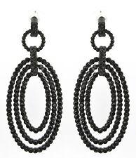 Zest Color geométricas Oval pendientes perforados Con Cristales Swarovski Negro