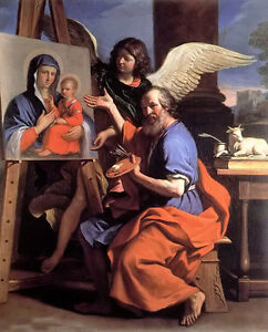 """Oil painting guercino - st. luke displaying a painting of the virgin & angel 36"""""""
