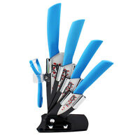 """6pcs Ultra Sharp Flower Printed Ceramic Chef Knife Set 3"""" 4"""" 5"""" 6"""" peeler Holder"""