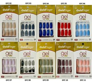Kiss Gold Finger Gel Glam Ready to Wear 24 Press-On Nails Long Coffin Stiletto