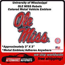 Univeristy of Mississippi OLE MISS Rebels Colored Metal Car Auto Emblem Decal