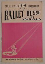 Ballet Russe De Monte Carlo rare concert program Sf War Memorial 1950