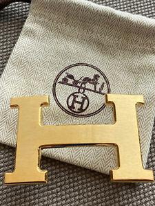 RARE Hermes 38MM GOLD BRUSHED Belt Buckle H Constance