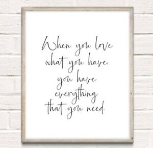 Everything You Need Typography Print Poster Family Love Unframed Home Quote Gift