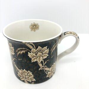 V&A William Morris Inspired Teal and Cream Flower Bone China Mug
