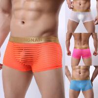 Men Underware Summer Breathable Underpants Mesh Boxer Briefs Casual Soft