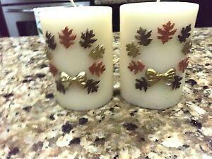 "Mackenzie Childs Set of 2 Autumn Leaves 4"" Pillar Candles"