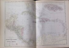 The West India Islands And Central America 1882 Antique Map W.G. Blackie Atlas