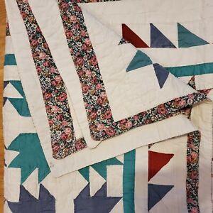 "Vintage Handmade Hand Sewn Quilt Coverlet 80x62"""