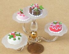 1:12 Scale Raised Glass Stand With 4 Loose Cakes Tumdee Dolls House Miniature Ns