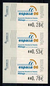 Etiquetas adhesivas ATMs Exposición Mundial filatelia España 2006 Malaga