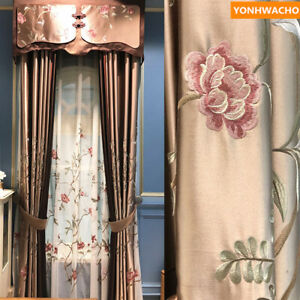luxury simulation silk embroidered coffee American   curtain tulle drape B130