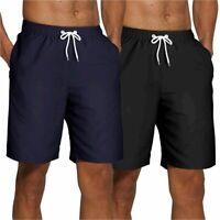 SILKWORLD Men's 2 Pack Swim Trunks Quick Dry Beach, Black, Size X-Large AHLW