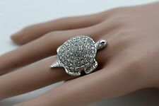 Women Silver Metal Water Turtle Ring Fashion Jewelry Elastic Band Rhinestones