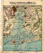 1865 Map Mobile Alabama Civil War Poster Military Battles Naval Operations Print