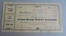 Old Vintage 1904 - COVINA ORANGE GROWERS ASSOC. - Stock Certificate - CA.