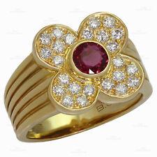 VAN CLEEF & ARPELS 4 Leaf Clover Genuine Ruby Diamond 18k Yellow Gold Ring