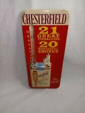 Vintage ORIGINAL Chesterfield Cigarettes Embossed Metal Wall Thermometer WORKS