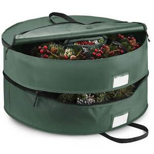 Tear-Proof Double Premium Christmas Wreath Storage Bag 24'' Green