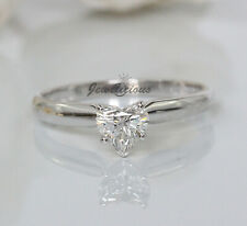 Natural Heart Diamond Solitaire Engagement Ring New Magicglo 14K W Gold 0.46ct