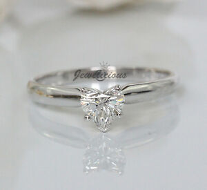 New MAGICGLO 14K W Gold 0.46ct Natural Heart Diamond Solitaire Engagement Ring