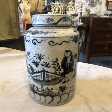 Potiche Cinese Antica In Ceramica Bianca E Blu