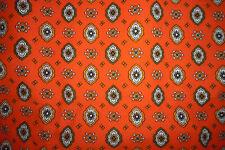 Ancien tissu ameublement coton imprimé motif provençal orange vintage 50x125
