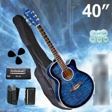 40-inch Blue Cutaway Acoustic Wooden Guitar