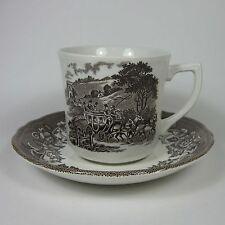 J & G Meakin STRATFORD STAGE BROWN Cup & Saucer Set (s) Royal Staffordshire