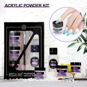 6Pcs Nail Acrylic Powder Liquid DIY Kit Set - with Glass Cup & Nails Brush Pen