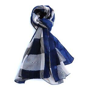 Stripe Print Multi Colours Womens Fashion Scarf (Navy)