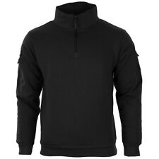 Black Sweatshirt with Zipper - High collar headphone outlet patch Army Military