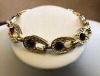 Vintage Gold Tone Multi Coloured Stone Bracelet