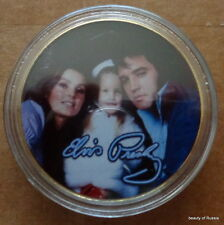 ELVIS PRESLEY THE KING OF ROCK N ROLL & his family   24K GOLD  PLATED  COIN #2