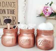 Painted Rose Gold Mason Jars with Rose Gold Glitter Rim Top - set of 3