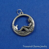 Silver MERMAID Disc Ocean Nautical CHARM PENDANT