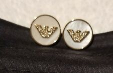 Emporio Armani Stainless Steel Mother of Pearl Earrings EGS2354710 BNWT EA Pouch