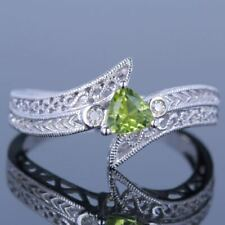 Solid 14k White Gold Trillion 4.5x4.5mm Peridot Diamonds Gemstone Ring Jewelry