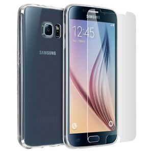 For SAMSUNG GALAXY S6 CLEAR CASE + TEMPERED GLASS SCREEN PROTECTOR SHOCKPROOF