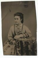 1880's Tintype Beautiful Woman Seated at a Covered Table with Mourning Photo