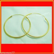 50 mm Hoop 22K 23K 24K THAI BAHT YELLOW GOLD GP Earrings Jewelry