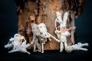 4 New Anthropologie Vintage by Crystal Arctic Explorer Spun Cotton Ornaments
