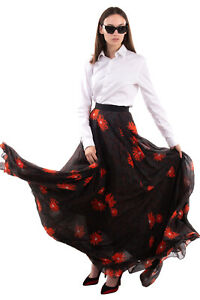 RRP €2330 GIAMBATTISTA VALLI Silk Maxi Flare Skirt Size 40 XS Floral Fully Lined
