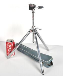 Vintage Velbon Deluxe V Small Metal Telescoping 3D Pan-Head Camera Tripod w/Case