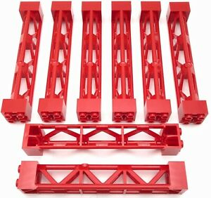 Lego 8 New Red Supports 2 x 10 Girder Triangular Vertical City Town Pieces